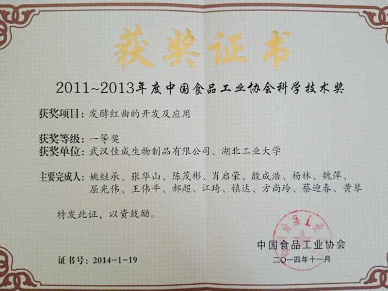 Science and Technology Award of China Food Industry Association